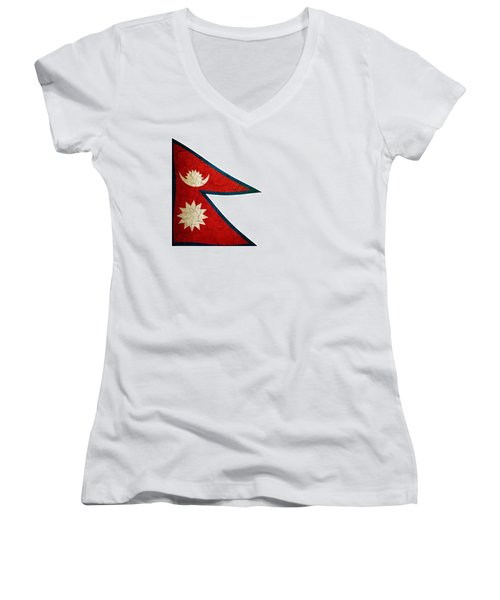 Grunge Nepal Flag Women's V-Neck T-Shirt