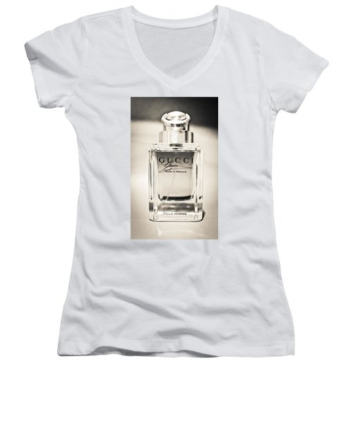 Aaron Berg Women's V-Neck T-Shirt (Junior Cut) featuring the photograph Gucci Made To Measure  by Aaron Berg