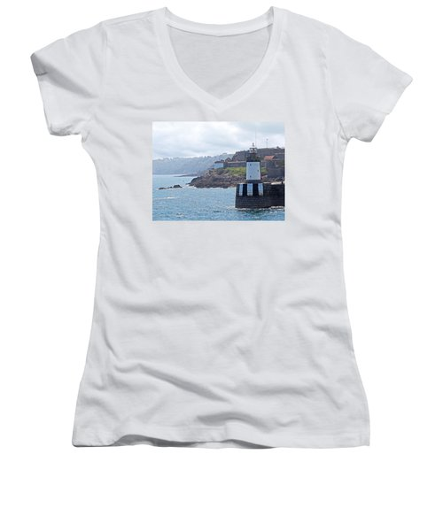 Guernsey Lighthouse Women's V-Neck T-Shirt (Junior Cut) by Gill Billington