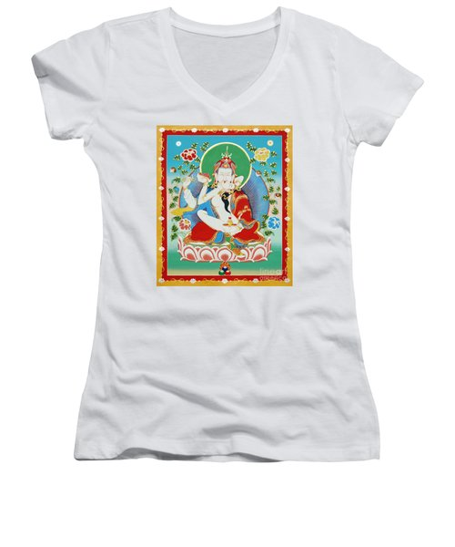 Guru Rinpoche Yab Yum Women's V-Neck (Athletic Fit)
