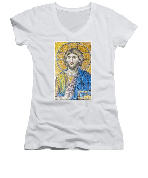 Hagia Sofia Jesus Mosaic Women's V-Neck T-Shirt (Junior Cut) by Antony McAulay