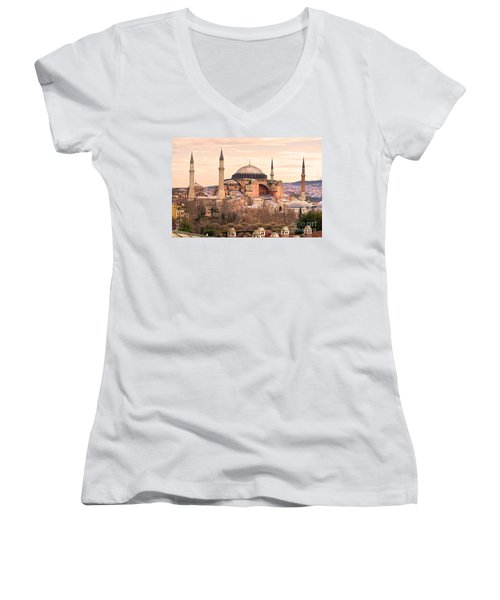 Hagia Sophia Mosque - Istanbul Women's V-Neck T-Shirt (Junior Cut) by Luciano Mortula