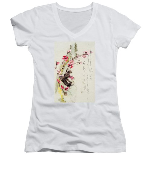 Women's V-Neck T-Shirt (Junior Cut) featuring the painting Haiga My Spring Too Is An Ecstasy by Peter v Quenter