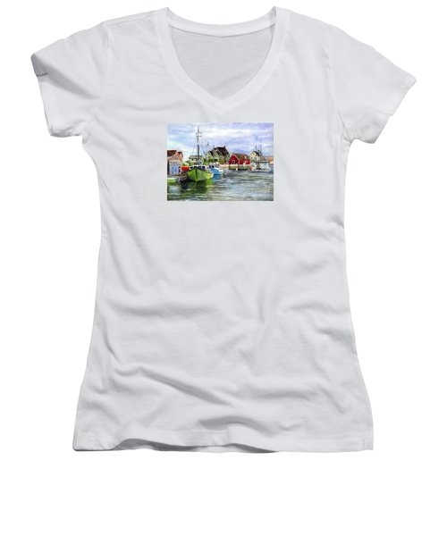 Peggys Cove Nova Scotia Watercolor Women's V-Neck T-Shirt (Junior Cut) by Carol Wisniewski