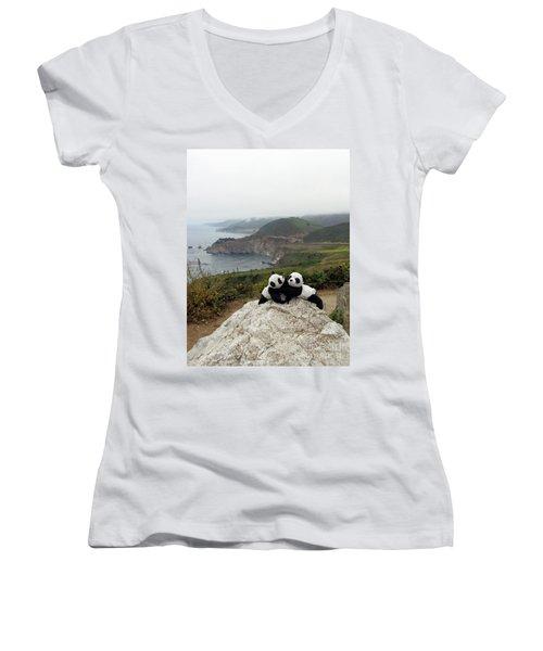 Women's V-Neck T-Shirt (Junior Cut) featuring the photograph Hang On- You Got A Friend by Ausra Huntington nee Paulauskaite