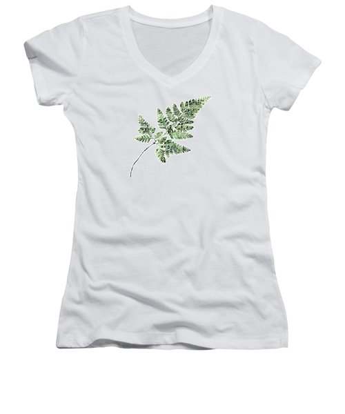 Women's V-Neck T-Shirt (Junior Cut) featuring the photograph Happy Adventure Music Fern by Sandra Foster