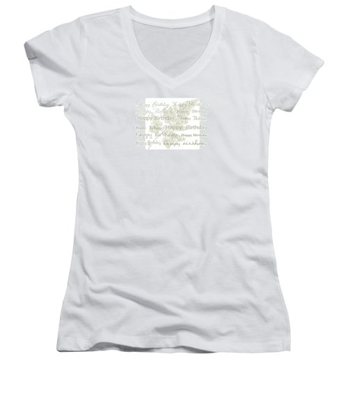 Women's V-Neck T-Shirt (Junior Cut) featuring the photograph Happy Birthday Card by Sandra Foster