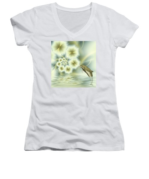 Happy Dolphin In A Surreal World Women's V-Neck T-Shirt (Junior Cut) by Gabiw Art
