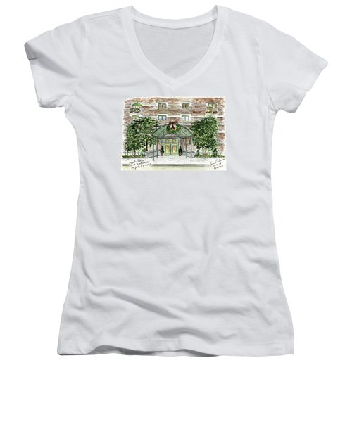 Happy Holidays At 1919 Madison Avenue In Harlem Women's V-Neck T-Shirt (Junior Cut) by AFineLyne