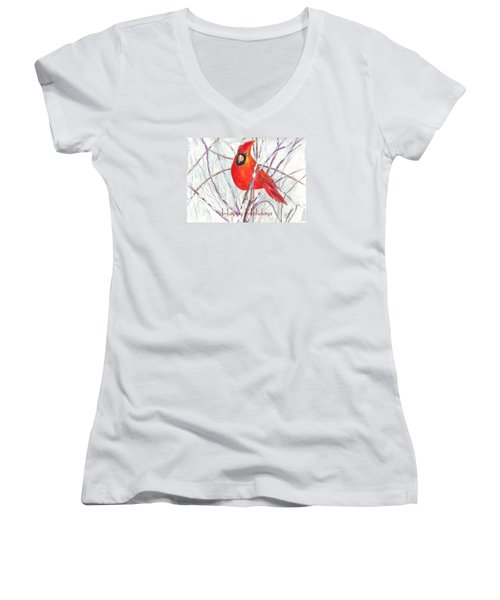 Happy Holidays Snow Cardinal Women's V-Neck T-Shirt (Junior Cut) by Carol Wisniewski