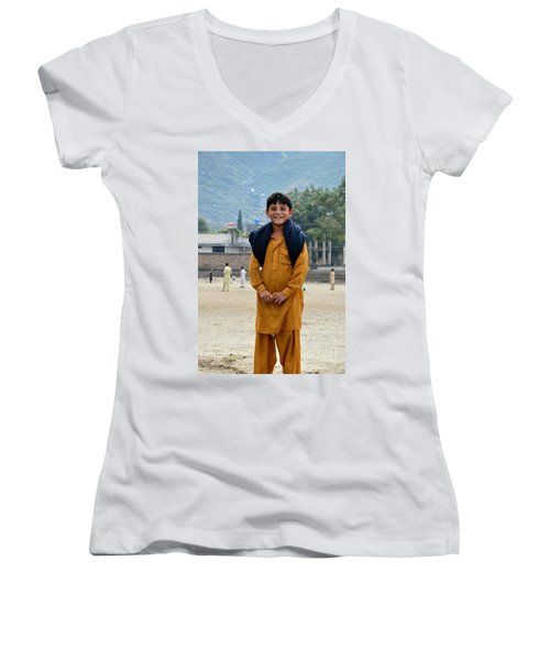 Women's V-Neck T-Shirt (Junior Cut) featuring the photograph Happy Laughing Pathan Boy In Swat Valley Pakistan by Imran Ahmed