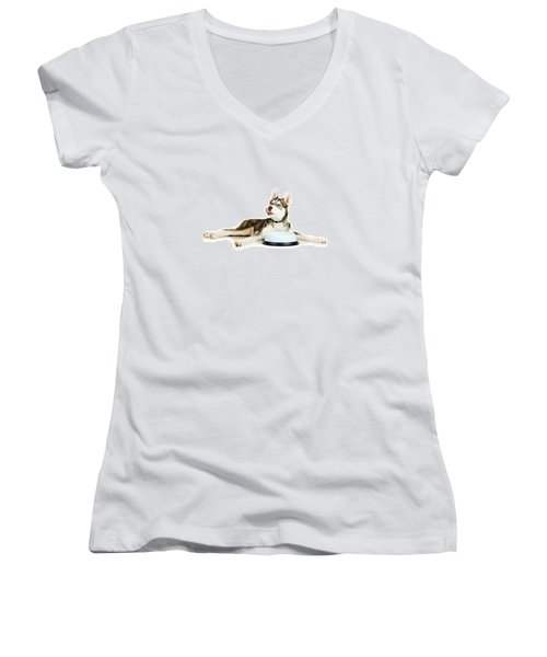 Happy Puppy Women's V-Neck (Athletic Fit)