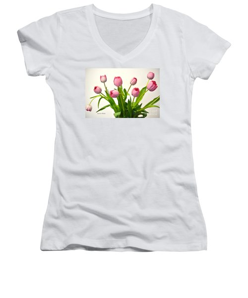 Women's V-Neck T-Shirt (Junior Cut) featuring the digital art Happy Spring Pink Tulips 2 by Jeannie Rhode