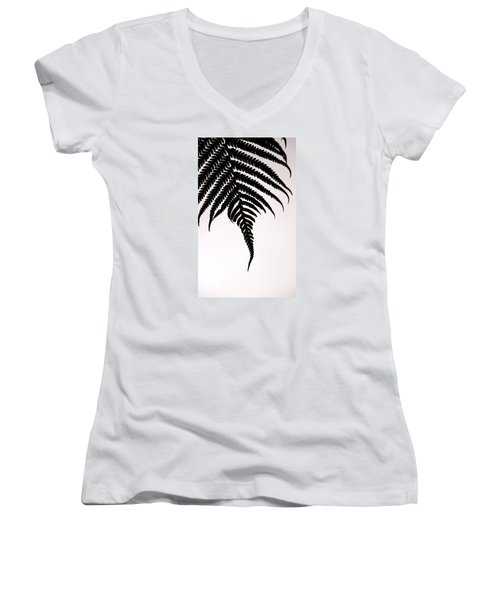 Hapu'u Frond Leaf Silhouette Women's V-Neck T-Shirt (Junior Cut) by Lehua Pekelo-Stearns