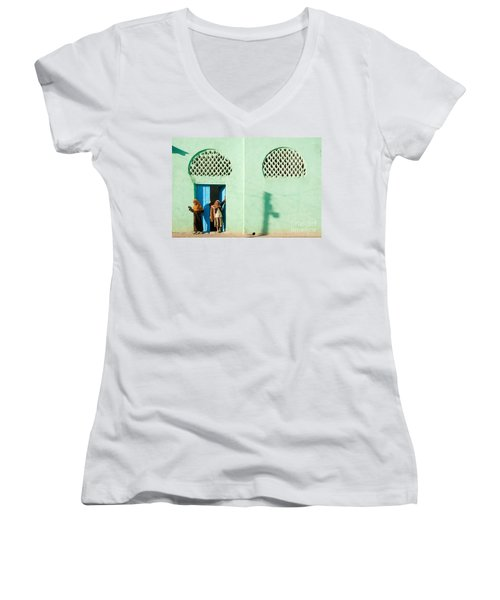 Harar Ethiopia Old Town City Mosque Girls Children Women's V-Neck (Athletic Fit)