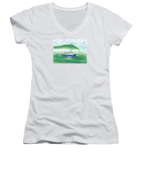 Women's V-Neck T-Shirt (Junior Cut) featuring the drawing Harbor by Troy Levesque