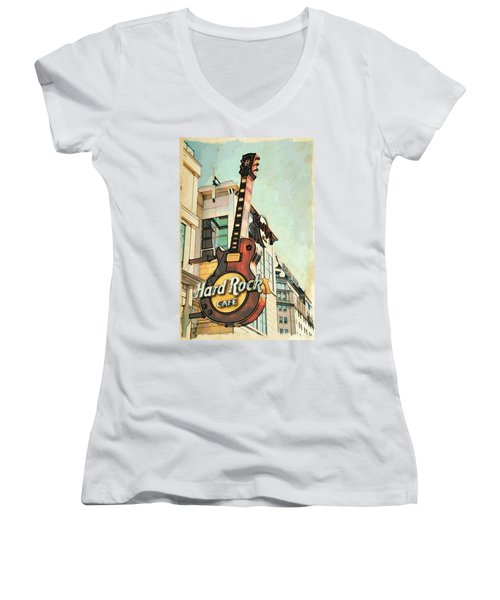 Women's V-Neck featuring the photograph Hard Rock Guitar by Alice Gipson