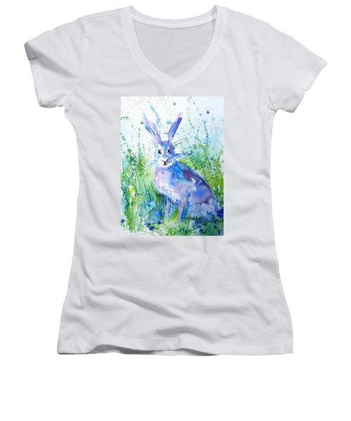 Hare Stare Women's V-Neck T-Shirt (Junior Cut) by Trudi Doyle