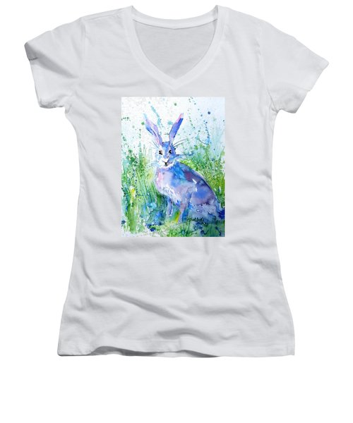 Hare Stare Women's V-Neck T-Shirt