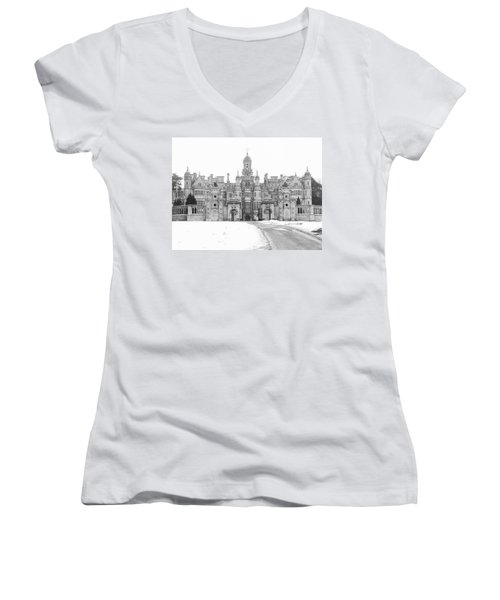 Harlaxton Manor Women's V-Neck T-Shirt (Junior Cut) by Tiffany Erdman