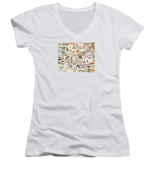 Harlem Collage Of Old And New Women's V-Neck T-Shirt (Junior Cut) by AFineLyne