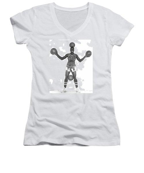 Harlem Globetrotters Player Women's V-Neck T-Shirt