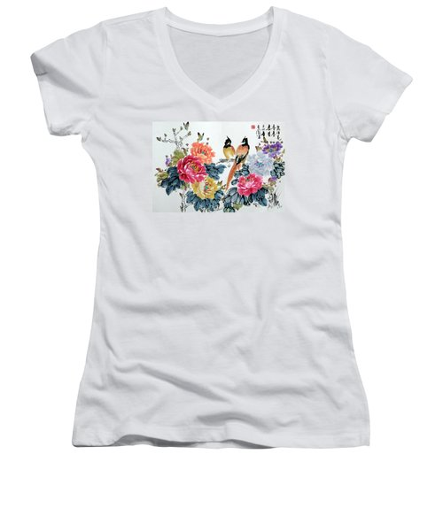Women's V-Neck T-Shirt (Junior Cut) featuring the painting Harmony And Lasting Spring by Yufeng Wang