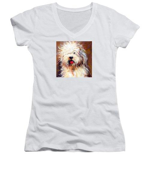 Harvey The Sheepdog Women's V-Neck T-Shirt (Junior Cut) by Rebecca Korpita