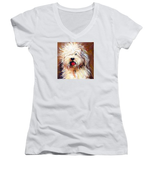Harvey The Sheepdog Women's V-Neck (Athletic Fit)