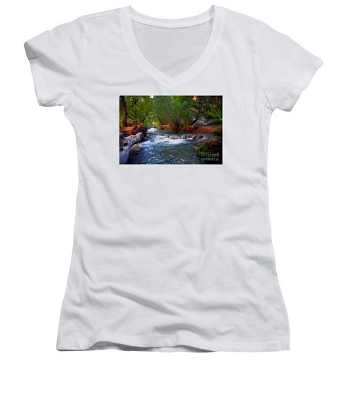 Havasu Creek Women's V-Neck T-Shirt (Junior Cut) by Kathy McClure
