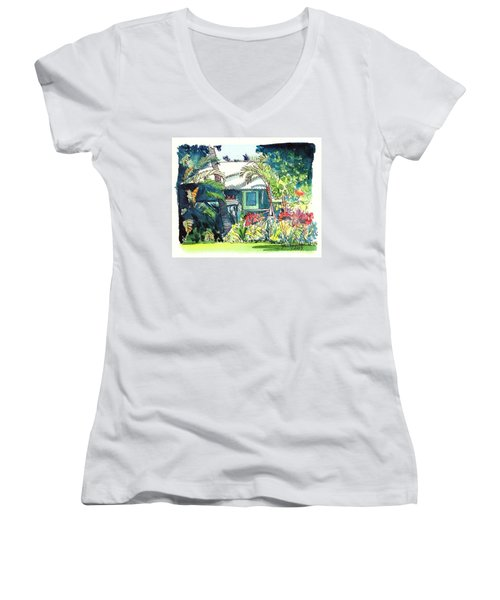 Women's V-Neck T-Shirt (Junior Cut) featuring the painting Hawaiian Cottage 3 by Marionette Taboniar