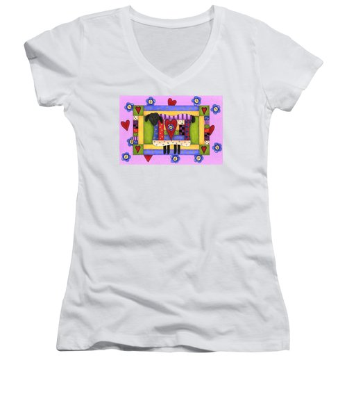 Heart For Ewe Women's V-Neck T-Shirt (Junior Cut) by Tracy Campbell