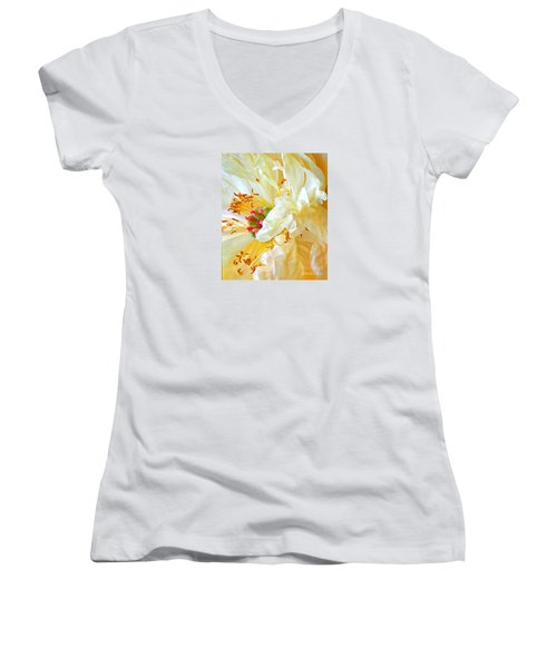 Women's V-Neck T-Shirt (Junior Cut) featuring the photograph Heart Of Peony by Nareeta Martin