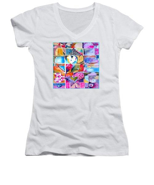 Heart Throbs Women's V-Neck T-Shirt (Junior Cut) by Mindy Newman