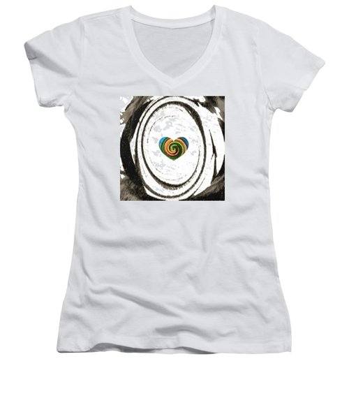 Women's V-Neck T-Shirt (Junior Cut) featuring the digital art Heart Within by Catherine Lott