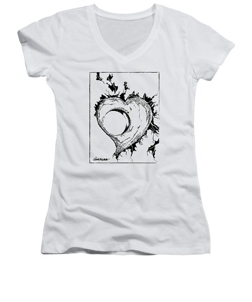 You Left A Whole In My Heart Women's V-Neck T-Shirt (Junior Cut) by Dani Abbott