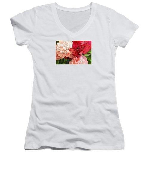 Heart's A Flutter Women's V-Neck T-Shirt (Junior Cut) by Julie Andel
