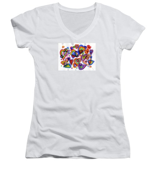 Hearts Of Colour Women's V-Neck (Athletic Fit)
