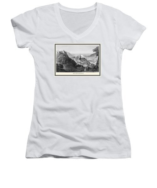Heidelberg Etching Women's V-Neck T-Shirt (Junior Cut) by Rudi Prott