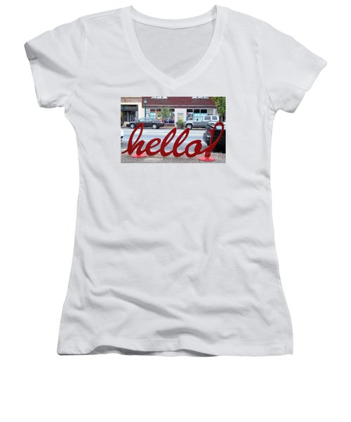 Hello Women's V-Neck T-Shirt (Junior Cut) by Kelly Awad
