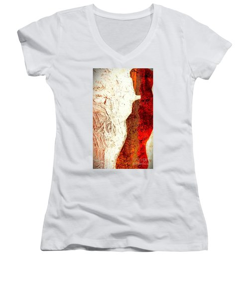 Her Red Silhouette Women's V-Neck T-Shirt (Junior Cut) by Jacqueline McReynolds