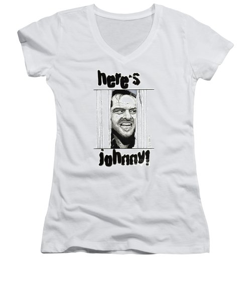 Here's Johnny Women's V-Neck T-Shirt (Junior Cut) by Cory Still