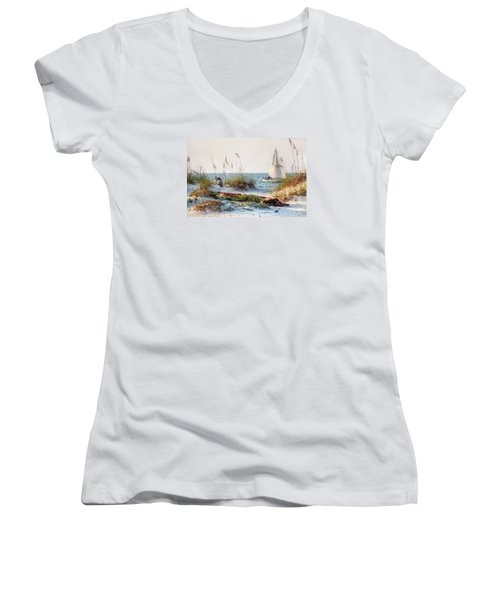 Heron And Sailboat Women's V-Neck T-Shirt (Junior Cut)