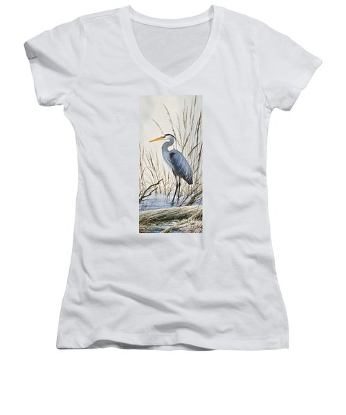 Herons Natural World Women's V-Neck T-Shirt (Junior Cut) by James Williamson