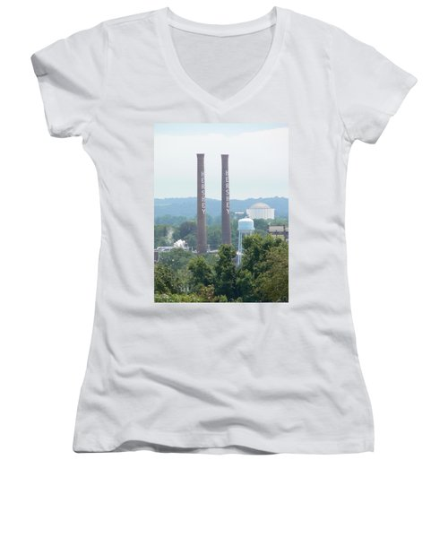Women's V-Neck T-Shirt (Junior Cut) featuring the photograph Hershey Smoke Stacks by Michael Porchik
