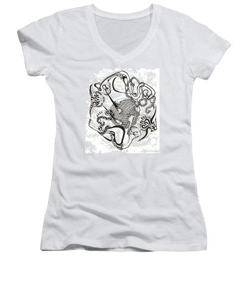 Hexagon Cats Women's V-Neck T-Shirt (Junior Cut)