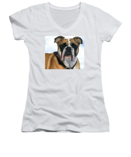 Women's V-Neck T-Shirt (Junior Cut) featuring the photograph Hey Good Looking by Kay Novy