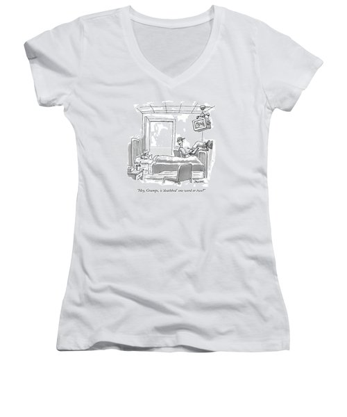 Hey, Gramps, Is 'deathbed' One Word Or Two? Women's V-Neck