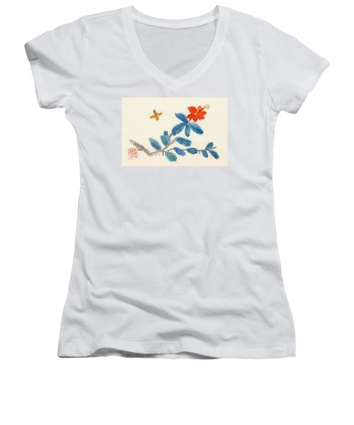 Hibiscus With Butterfly Women's V-Neck