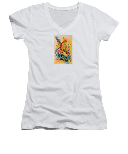 Women's V-Neck T-Shirt (Junior Cut) featuring the painting Hiding Amongst The Coral by Lyn Olsen